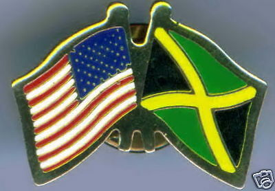 Jamaica / USA Dual Flag Lapel / Hat Pin NEW
