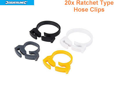 SILVERLINE 20 x Plastic Ratchet Hose/Pipe/Cable Clips/Clamps Tidy/Car/Gas 154000