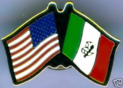 Mexico / USA Dual Flag Lapel / Hat Pin NEW