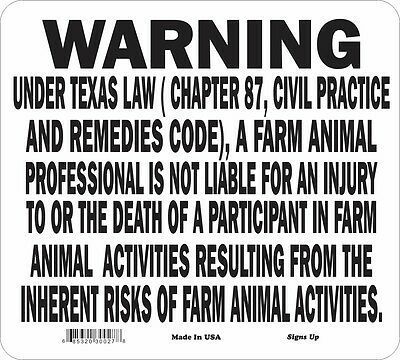 Texas Farm Animal Liability Warning Sign