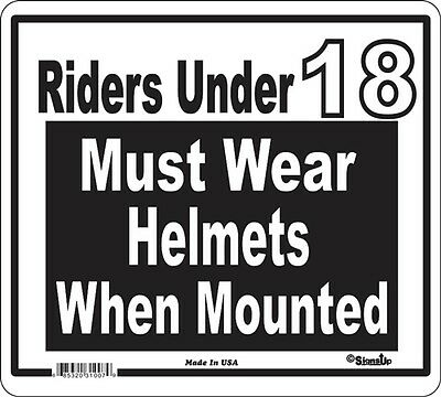 Helmets Required Signs Many More Signs Available