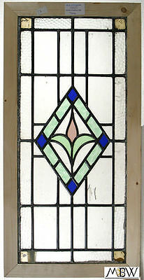 Large Antique English Lead Glazed Stained Glass Window
