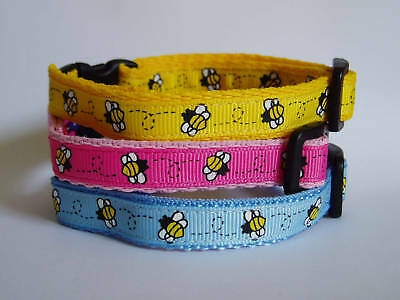 Pink, Blue Or Yellow Bees Cat Safety Collar
