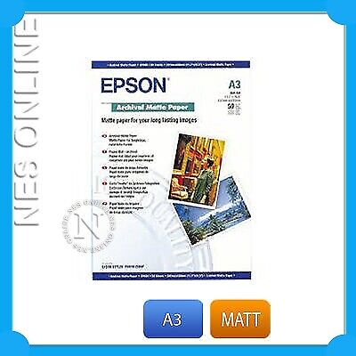 EPSON A3 ARCHIVAL MATT PHOTO PAPER R1800/1410 420x297mm S041344 50xPK/192gsm