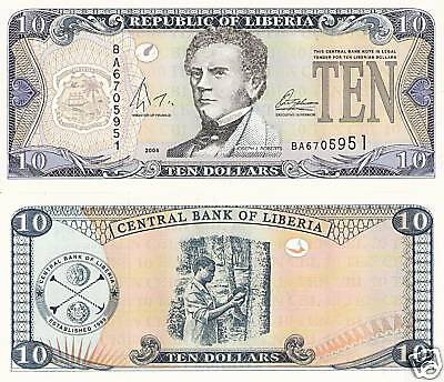 LIBERIA 10 Dollars Banknote World Money Currency p27a