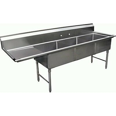 """3 Compartment Sink with 1 Left 18"""" Drain Board NSF"""