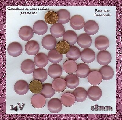 14V*** 8 cabochons anciens ronds 18mm verre opale rose