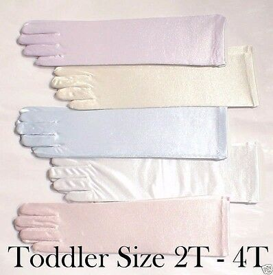 Baby Girls 18-24 months 2T 3T 4T Toddler Satin Elbow Gloves Pageant or Wedding