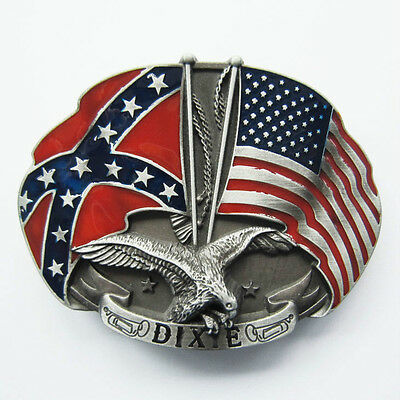 NEW CONFEDERATE DIXIE AND USA FLAG REDNECK BELT BUCKLE!