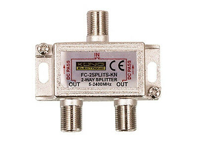 2 Way Splitter Virgin Cable Freeview TV DC Pass CATV Aerial