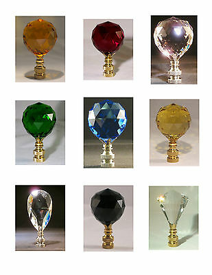 Lamp Finial**STUNNING** Colored Crystal With Brass Or Nickel Base