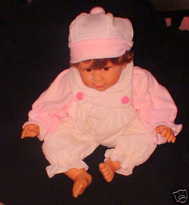 """NIB White Pink Overall Outfit with Hat Vinyl Doll NEW 22"""" Long"""