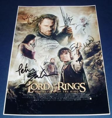 LORD OF THE RINGS MOVIE CAST x6 PP SIGNED POSTER 12X8
