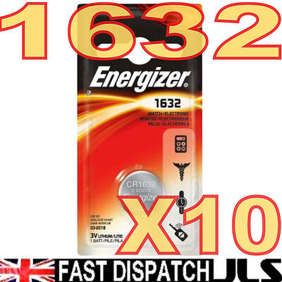 10 x ENERGIZER 1632 Lithium 3V Batteries CR1632 FREE UK