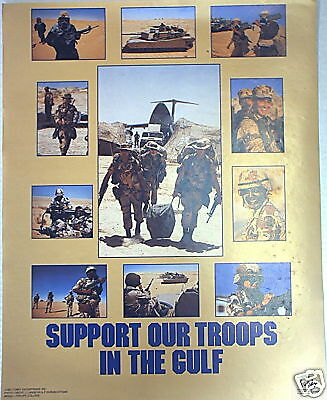 Vintage 1991 Support Our Troops In The Gulf War Poster Desert Storm