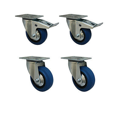 Set 125 mm Blue Wheels Elastik Rollen als Lenkrolle 2L+2LDS Transportrollen