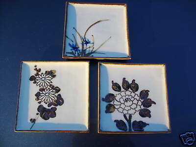 SET OF 3  JAPAN WONY LTD. VINTAGE PLATES FLORAL MOTIF