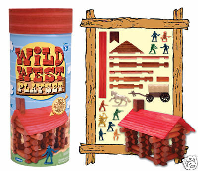Wild West Playset Toy Wooden Log Cabin Building Set