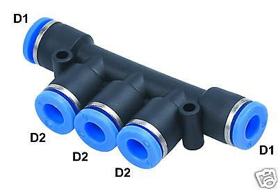 "1pc Pneumatic Push In Fitting Air Manifold Union 3/8"" Tube MettleAir MTKG3/8-3/8"