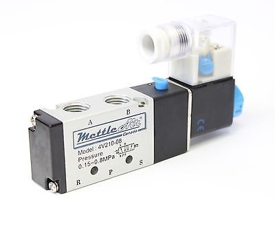"1pc 1/4"" 4 Way 2 Position Single Electric Valve 110V AC MettleAir 4V210-08-AC110"