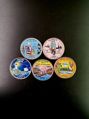 2003 Complete Set Of Colorized State Quarters