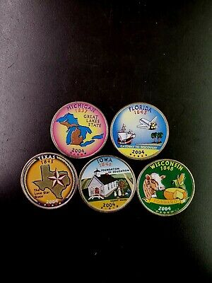 2004 Complete Set Of Colorized State Quarters