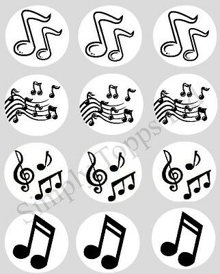 12 Music Notes Cupcake Decoration Edible Rice Paper Cake Toppers Pre Cut 40mm