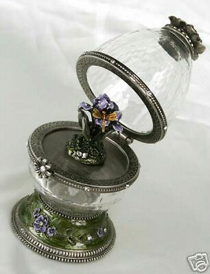 Jewelled Pewter & Glass Musical Collectors Egg-Amazing