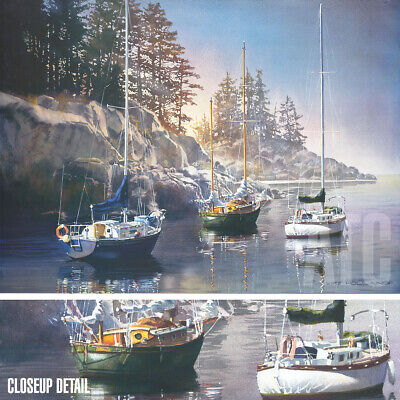 "40W""x30H"" MORNING'S PROMISE by KIFF HOLLAND - SAILBOATS FISHING LAKESIDE CANVAS"