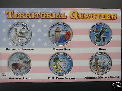 2009 Set Of Colorized Quarters in Plastic Holder