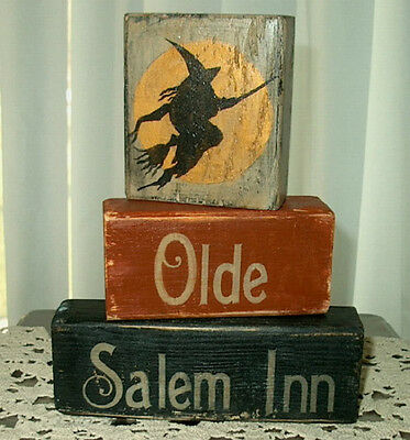 Primitive Halloween Sign Blocks Olde Salem Inn Witch