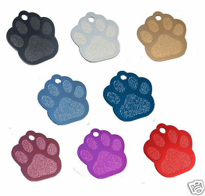 Personalised Paw Shape Pet ID Dog, Puppy Tag Disc Medium - Large ID Tag Engraved