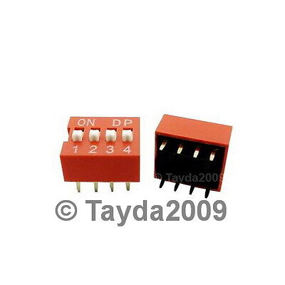 2 x Dip Switch 4 Positions Silver Plated Contacts