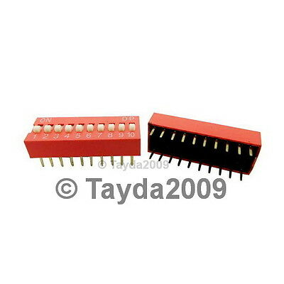 Dip Switch 10 Positions Silver Plated Contacts
