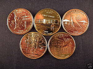 2001 Complete Set Of 24kt. Gold Plated State Quarters