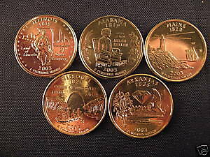 2003 Complete Set Of 24kt. Gold Plated State Quarters