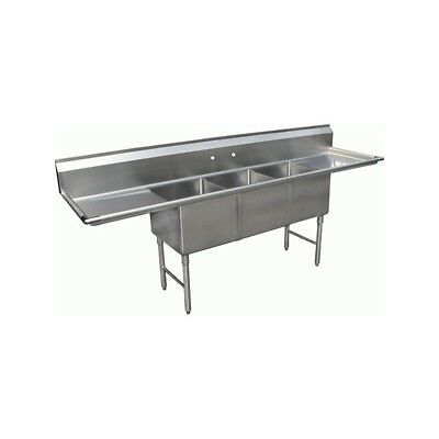 "3 Compartment Stainless Steel Sink 16""x20"" 2 Drainboard"