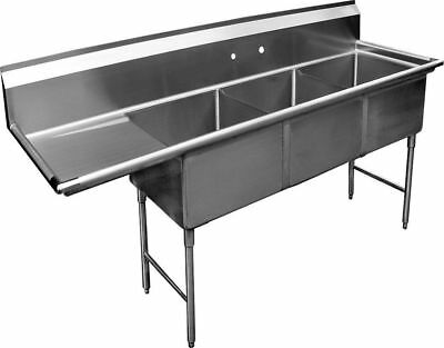 "3 Compartment S/S Sink 15""x15"" with Left Drainboard NSF"