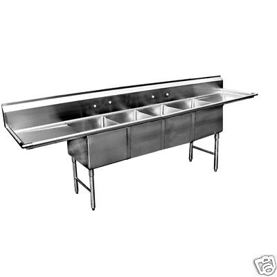 "4 Compartment Stainless Steel Sink 16""x20"" 2 Drainboard"