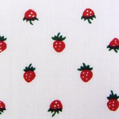 White Polycotton Fabric with Small Strawberry Print (Per Metre)