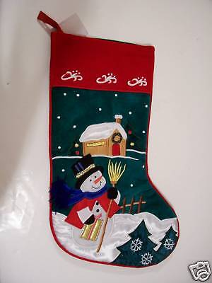 SNOWMAN RED GREEN VELORE CHRISTMAS STOCKING DECORATION