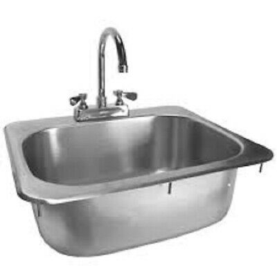 "Drop-In Hand Sink w/ Faucet Stainless Steel 16""x15"""