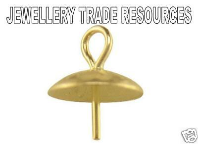 9ct YELLOW GOLD 5mm DIAMETER PENDANT CUP BEAD OR PEARL CAP