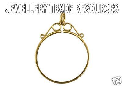 9ct YELLOW GOLD PENDANT COIN MOUNT 1/10 KRUGERRAND