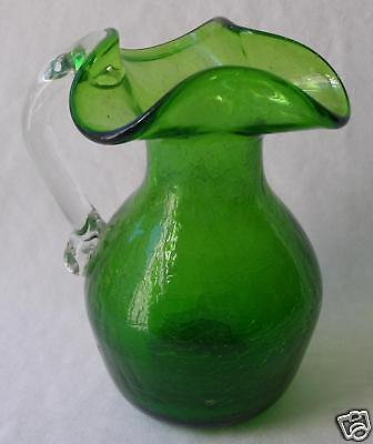 Vintage Rainbow Green Crackle Glass Pitcher 6""