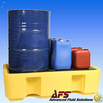 2 DRUM BUNDED SPILL PALLET OIL CHEMICAL STORAGE BUND x1
