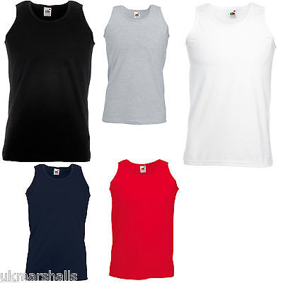 Fruit Of The Loom Athletic Vest Tank Top T Shirt 5 Cols