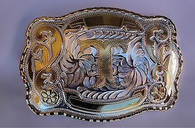 "New Initial "" T ""  Rodeo Big Cowboy Western Belt Buckle"
