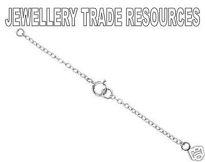 9ct White Gold Necklace Safety Chain with Clasp