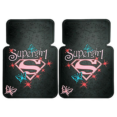 2Pc Supergirl Butterfly Universal Car Front Rubber Floor Mats
